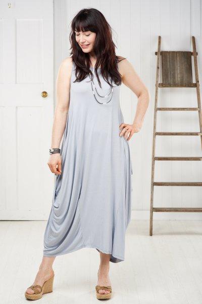 Made In Italy Jersey Sleeveless Draped Dress