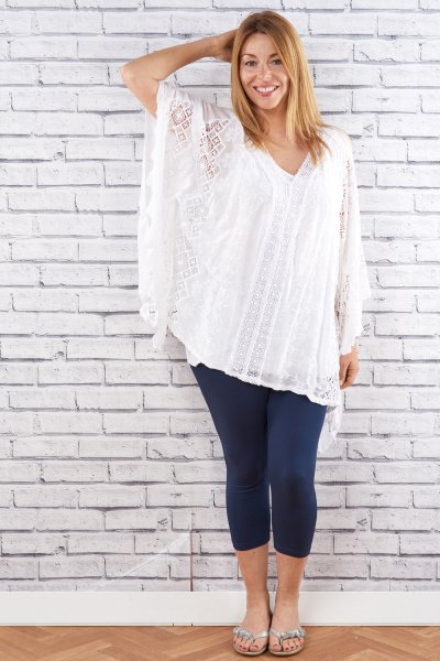 Belle Love Italy Batwing Style Silk Mix Top