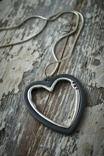 Belle Love Grey Open Heart Necklace