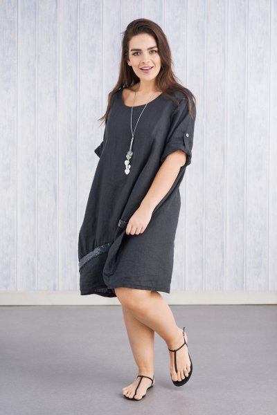 Belle Love Italy Touch Of Sparkle Linen Dress
