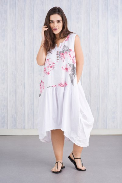 Belle Love Italy Flower Linen Mix Dress