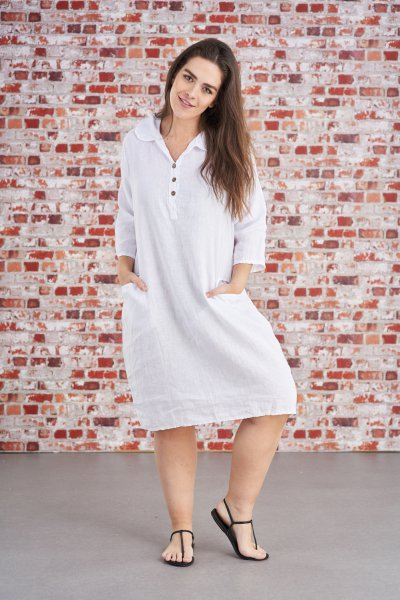 Belle Love Italy Collar Shirt Linen Dress