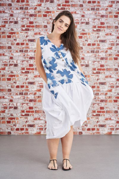 Belle Love Italy Floral Sleevesless Linen Dress