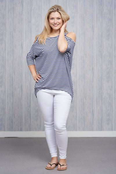 Made In Italy Cold Shoulder Jersey Stripe Top