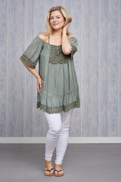 Belle Love Italy Cold Shoulder Crochet Top