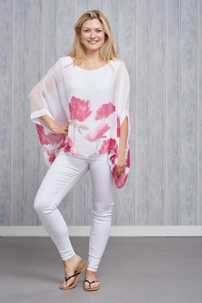 Belle Love Italy Flower Silk Print Top