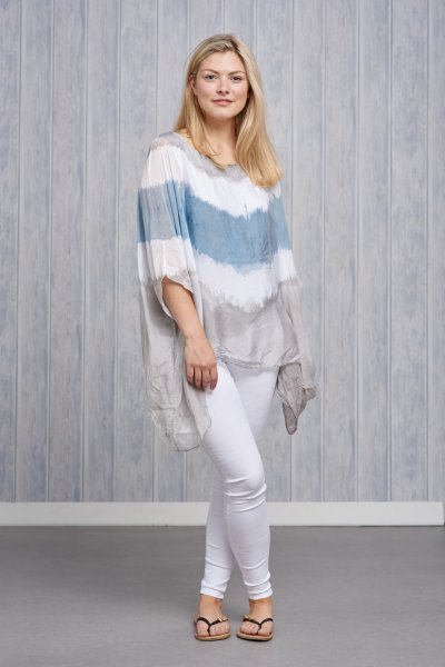 Belle Love Italy Tie-dye Silk Top