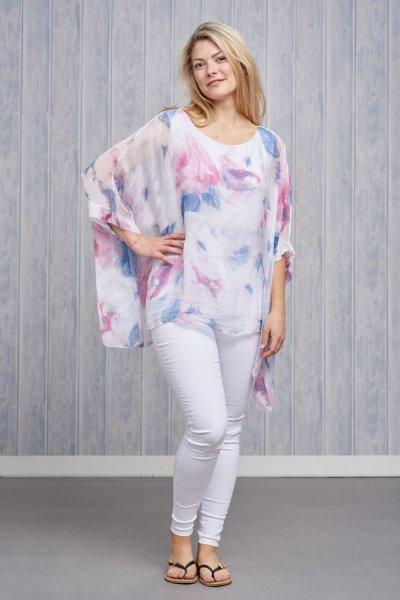 Belle Love Italy Pastel Print Silk Top