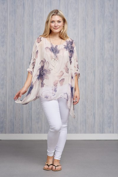 Belle Love Italy Floral Silk Print Top