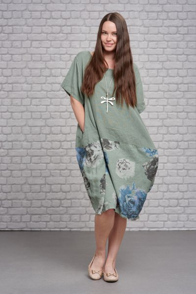Belle Love Italy Linen Print Dress