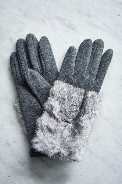 Belle Love Italy Fur Bow Gloves