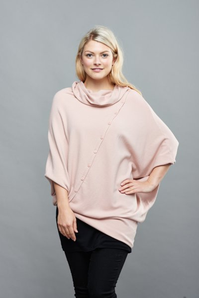 Belle Love Italy Button Front Cashmere Mix Jumper