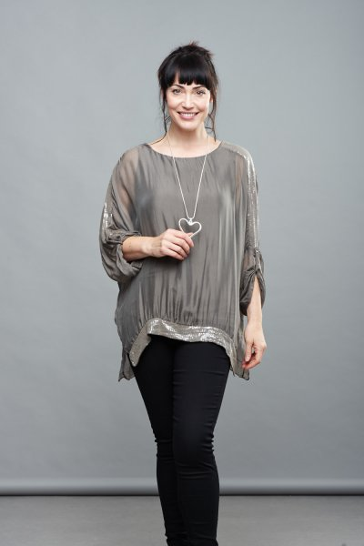 Belle Love Italy Silk Sequin Top