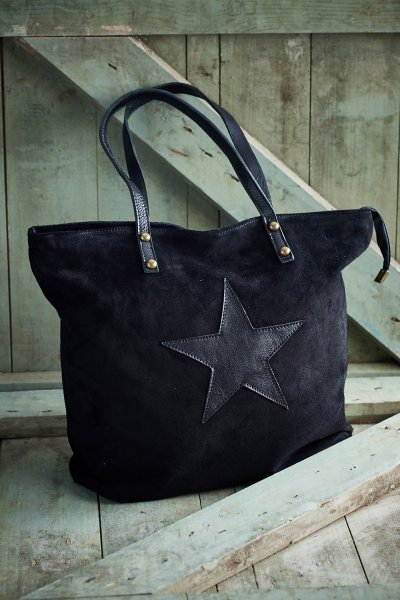 Belle Love Italy Black Suede Star Bag