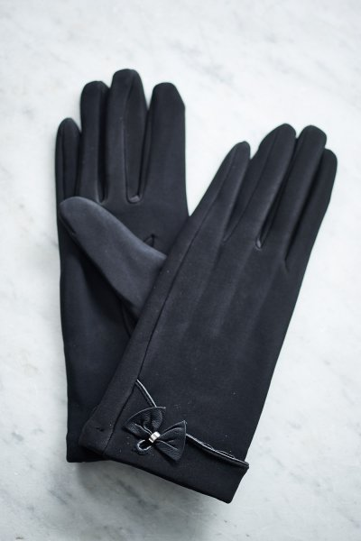 Belle Love Italy Black Single Bow Gloves