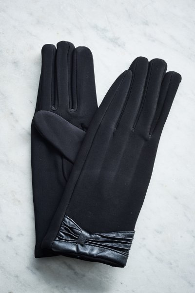 Belle Love Italy Leather Trim Black Gloves