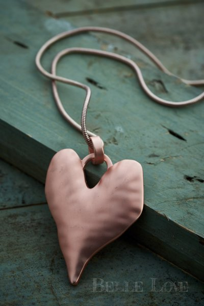 Belle Love Italy Rose Gold Beaten Heart Necklace