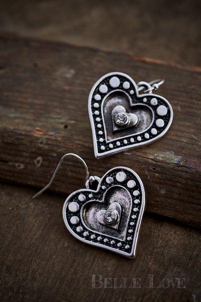Belle Love Italy Solid Heart Diamond Earrings