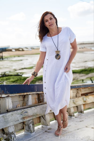 Belle Love Italy Button Front Linen Dress