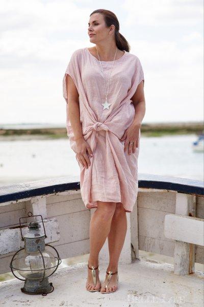 Belle Love Italy Tie Front Linen Dress