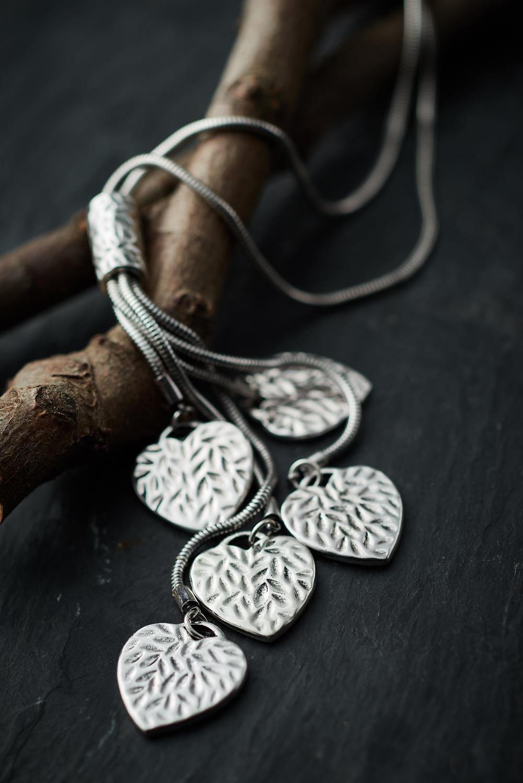 Belle Love Leaf Embossed Heart Necklace