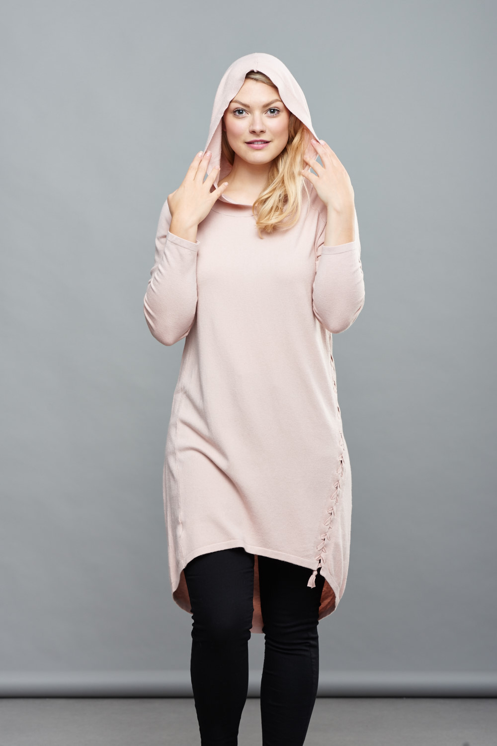 Belle Love Italy Super Soft Hooded Cashmere Mix Jumper Dress
