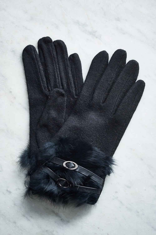 Belle Love Italy Fur Buckle Detail Gloves
