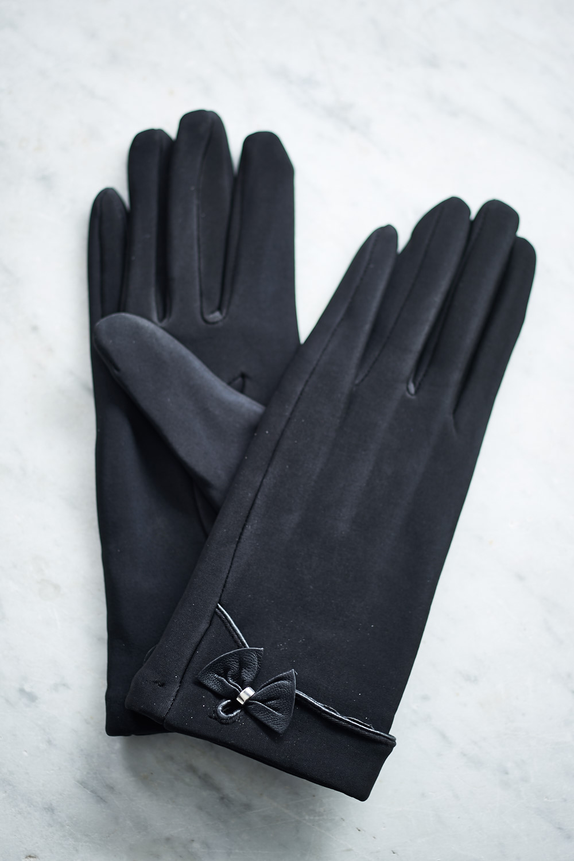 Belle Love Italy Black Single Bow Gloves