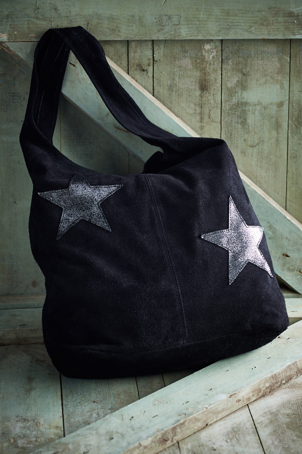 Belle Love Italy Suede Black Double Star Bag