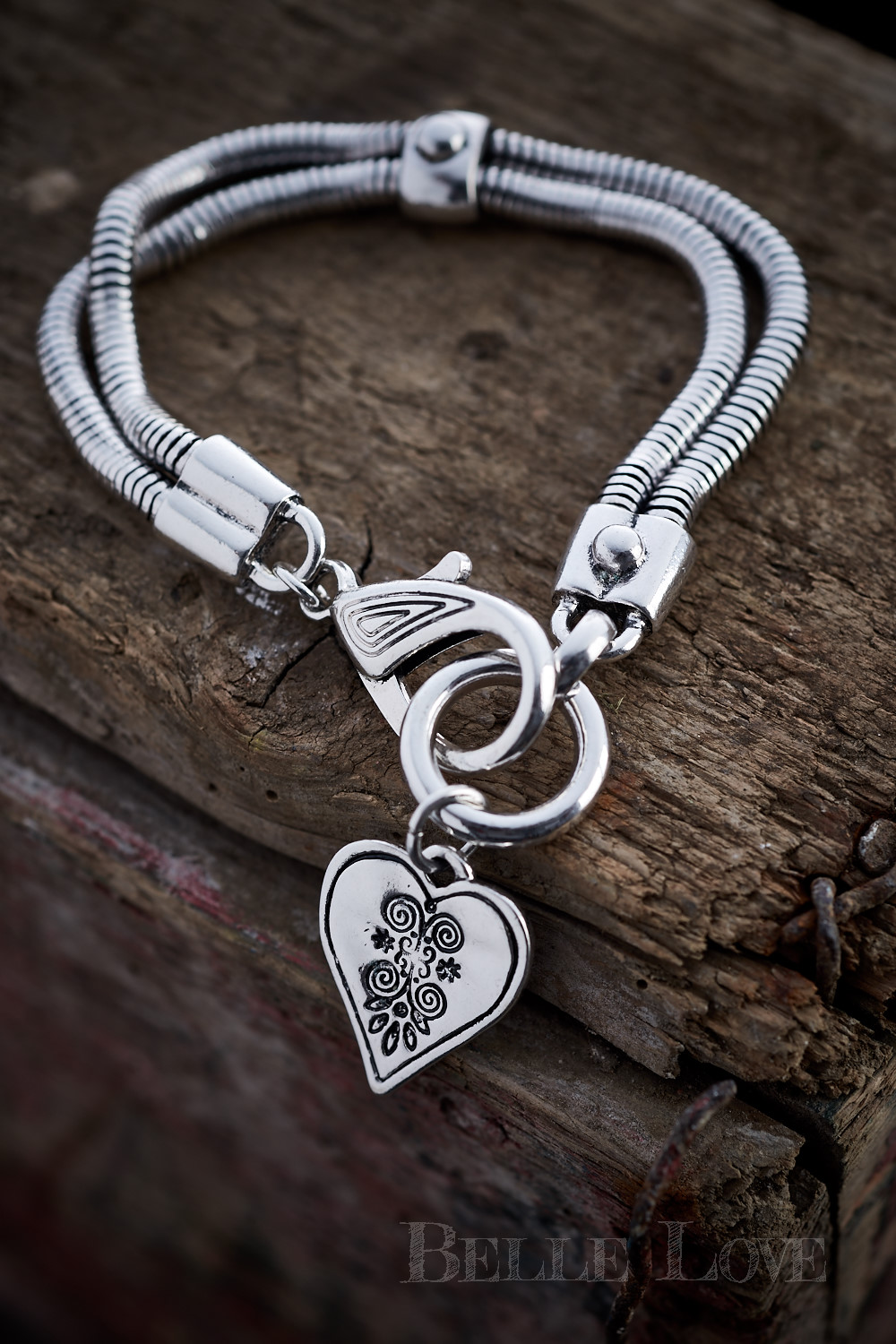 Belle Love Italy Double Chain Heart Bracelet