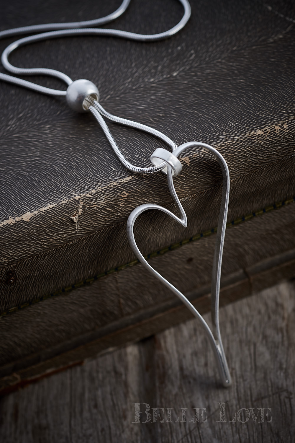 Belle Love Italy Silver Hollow Heart Necklace