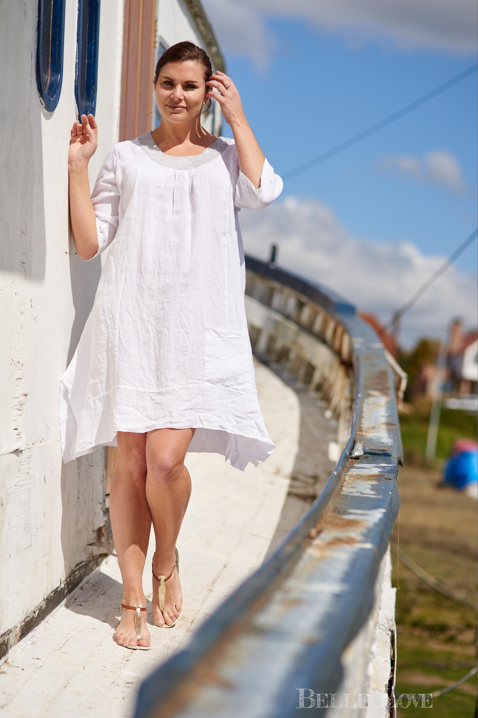 Belle Love Italy Sequin Linen Dress