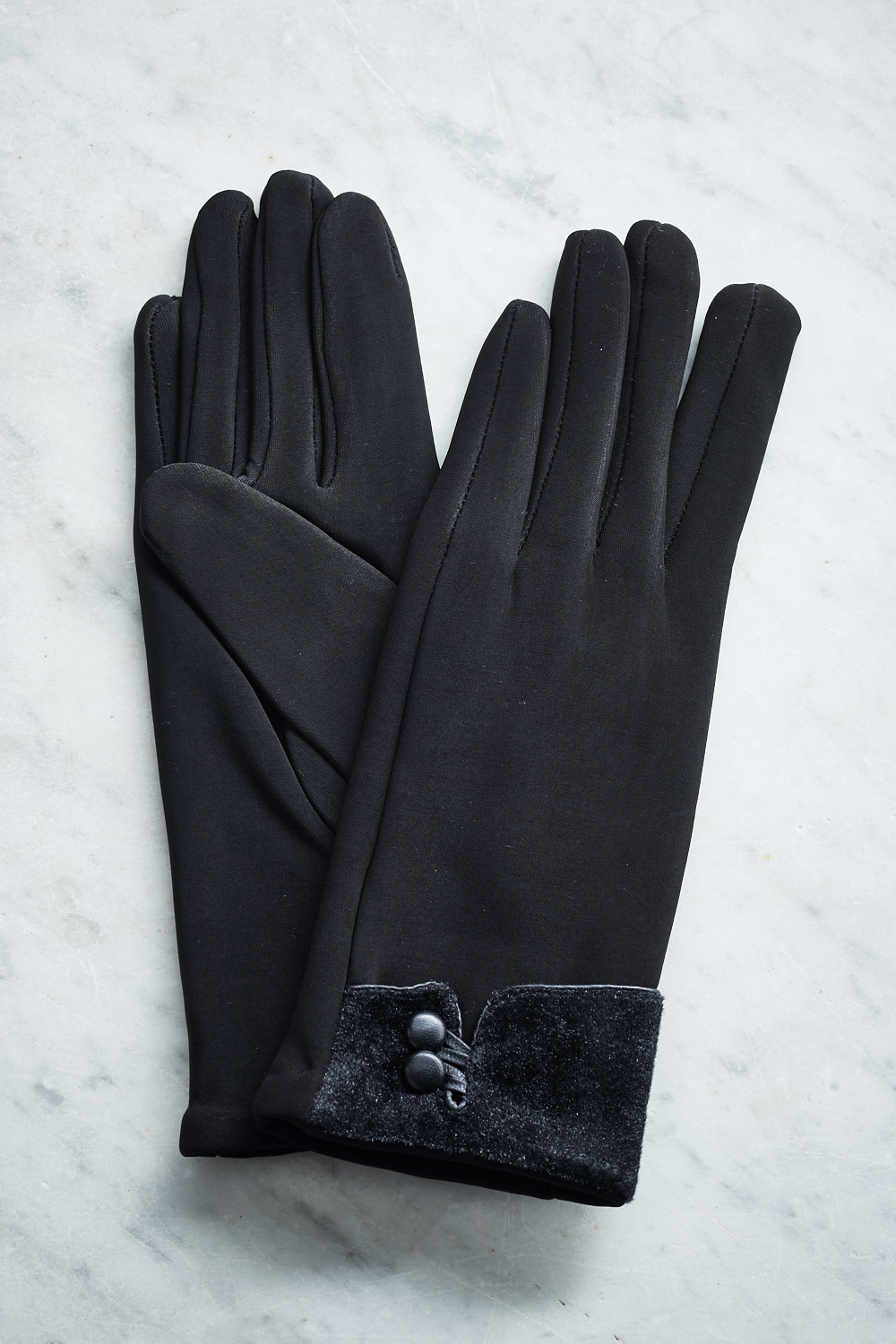 Belle Love Italy Black Two Button Detail Gloves