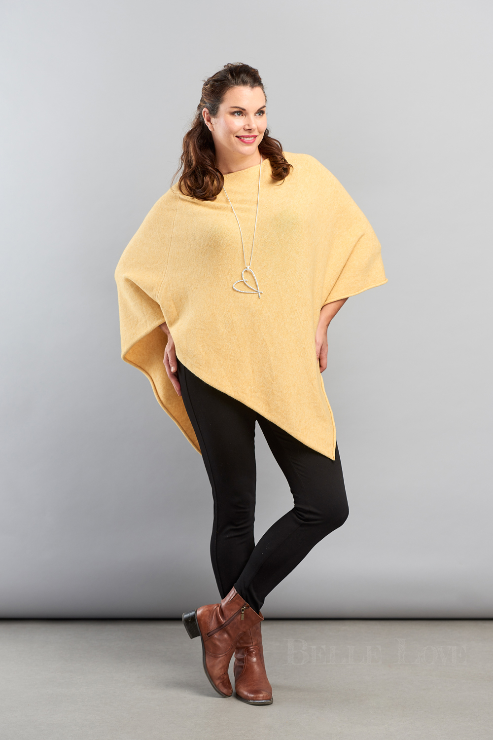 Belle Love Italy Asymmetric Soft Tone Poncho