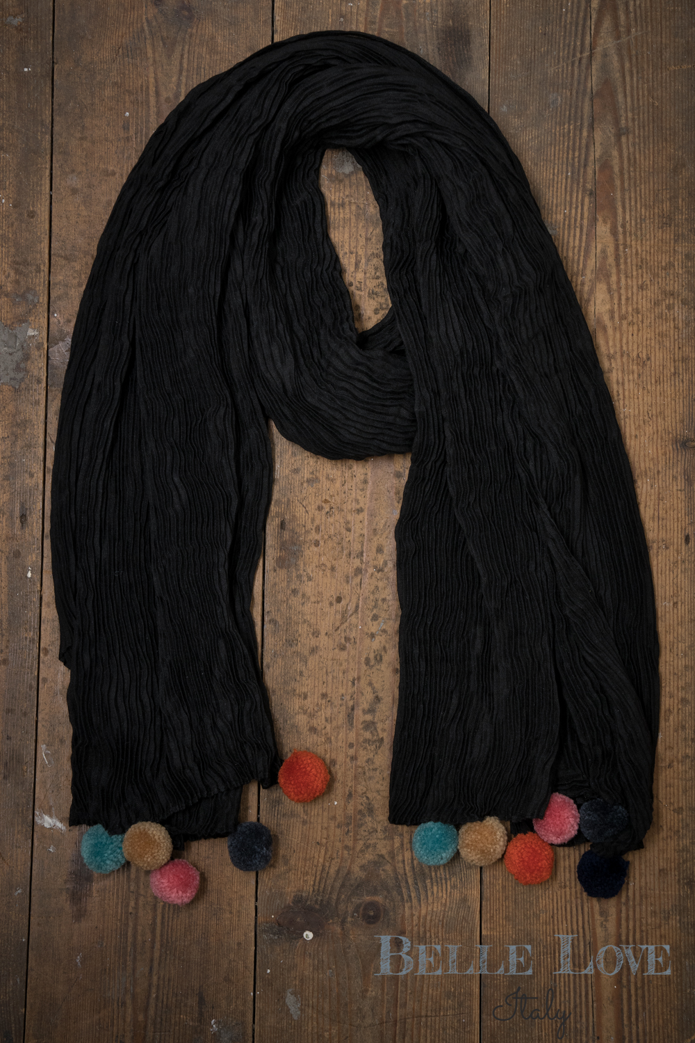 Belle Love Italy Ribbed Pom Pom Edge Scarf