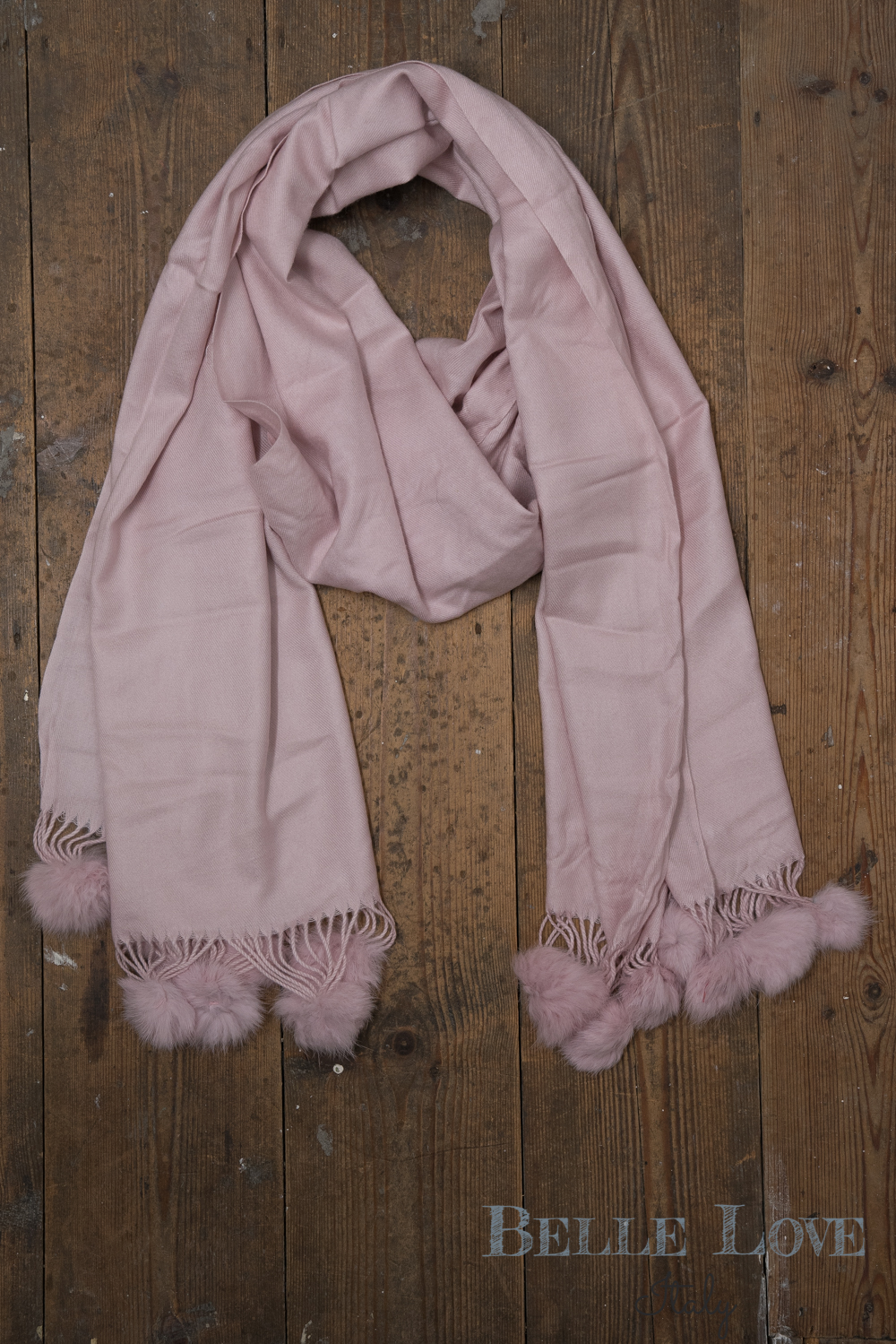 Belle Love Italy Luxury Winter Cashmere Mix Pom Pom Scarf