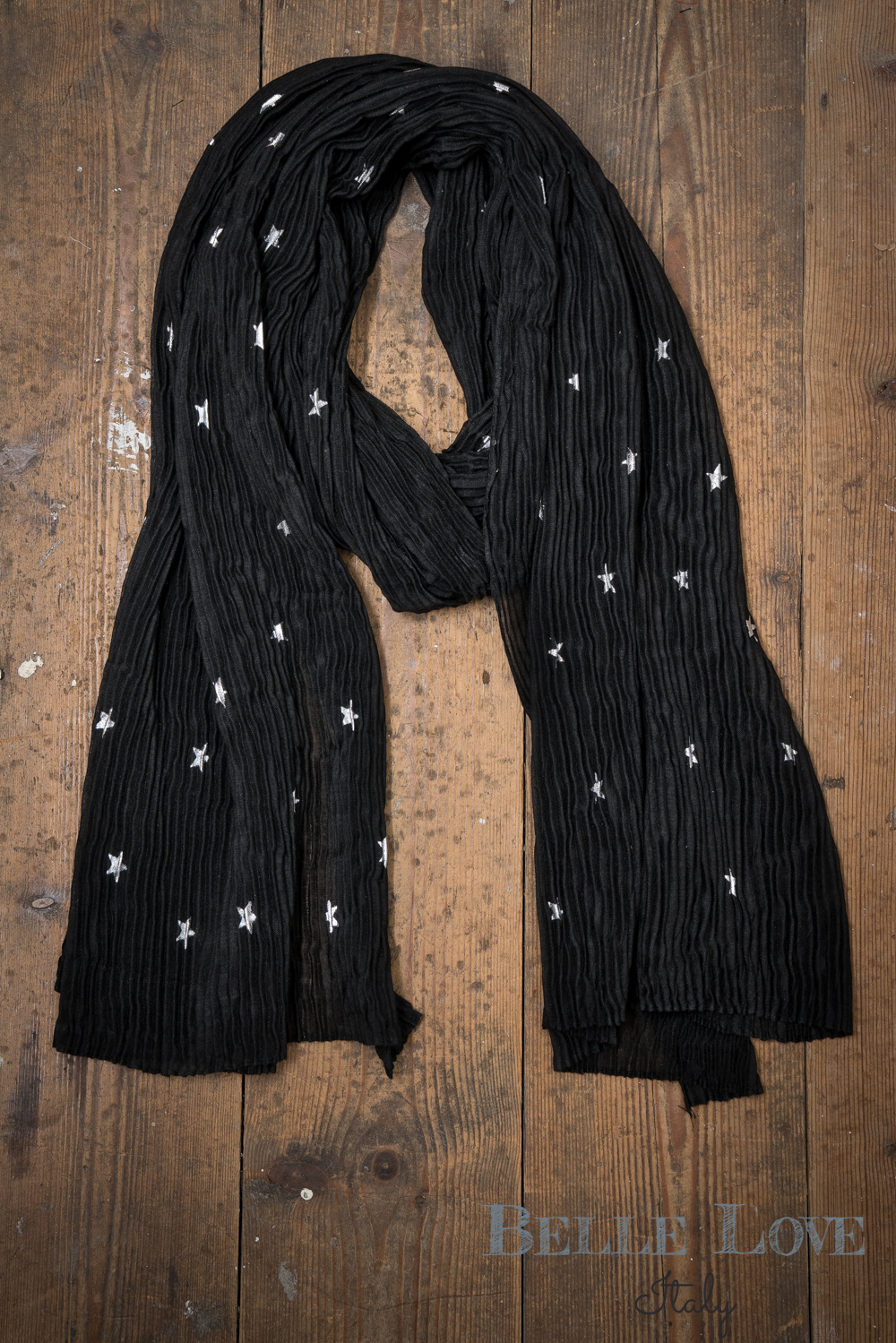 Belle Love Italy Glitzy Ribbed Star Scarf