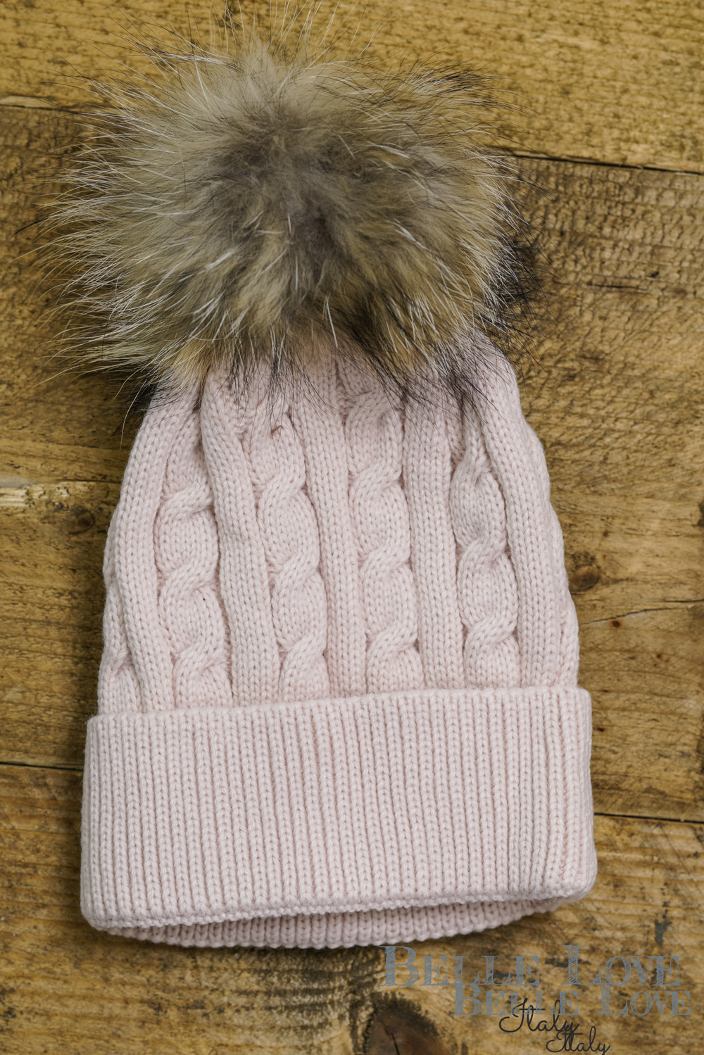 Belle Love Italy Cable Knit Pom Pom Hat