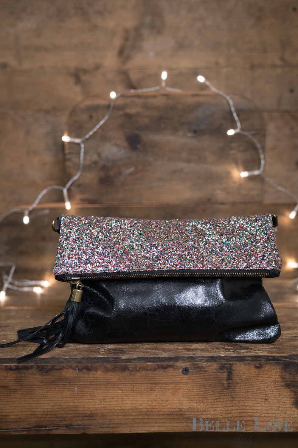 Belle Love Italy Sparkle Leather Clutch