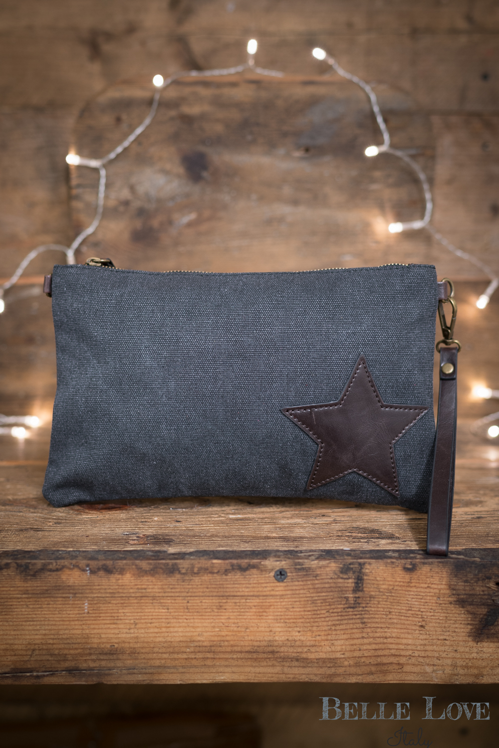 Belle Love Italy Canvas Leather Look Star Bag