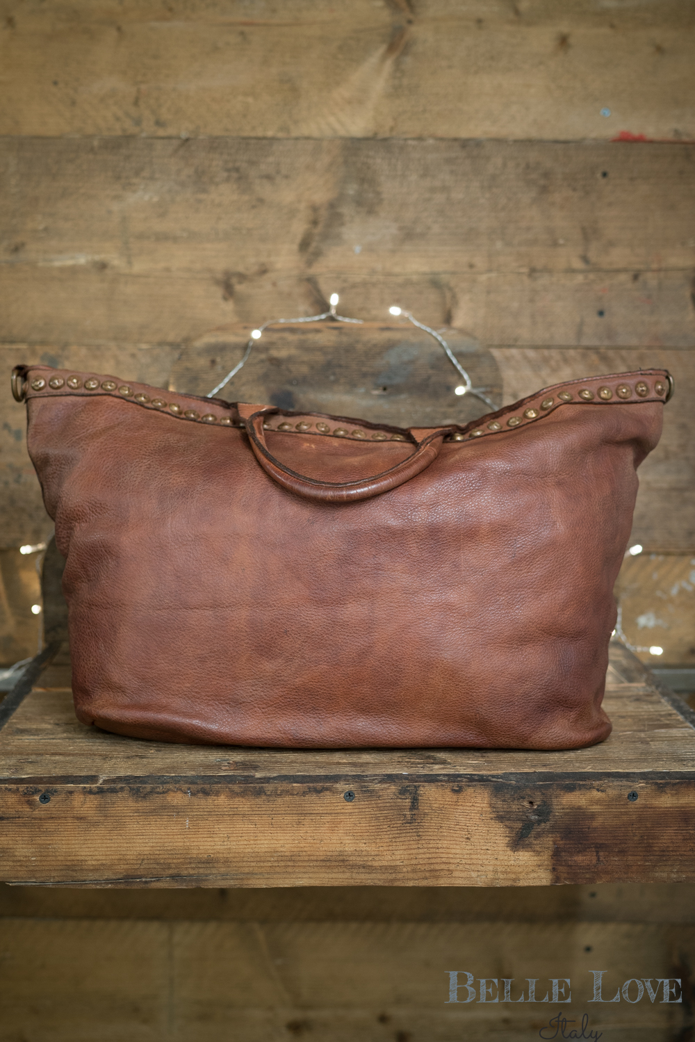 Belle Love Italy Tanned Leather Tote Bag
