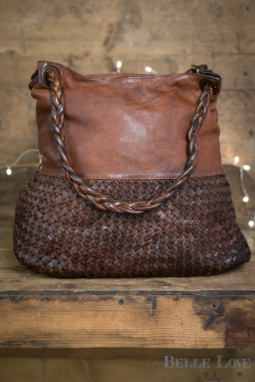 Belle Love Italy Tanned Leather Slouch Bag