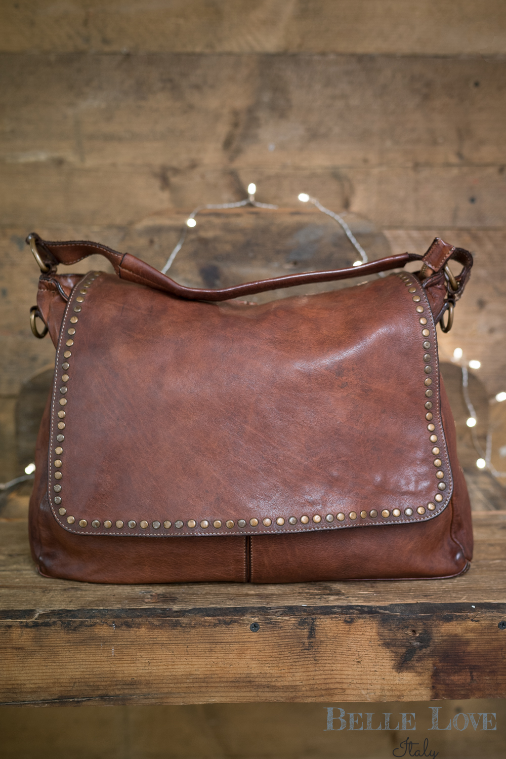 Belle Love Italy Tanned Leather Messenger Bag