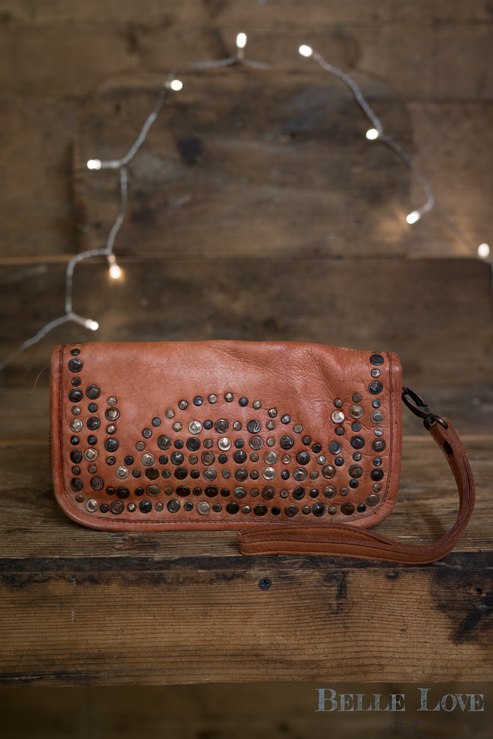 Belle Love Italy Tanned Studded Purse