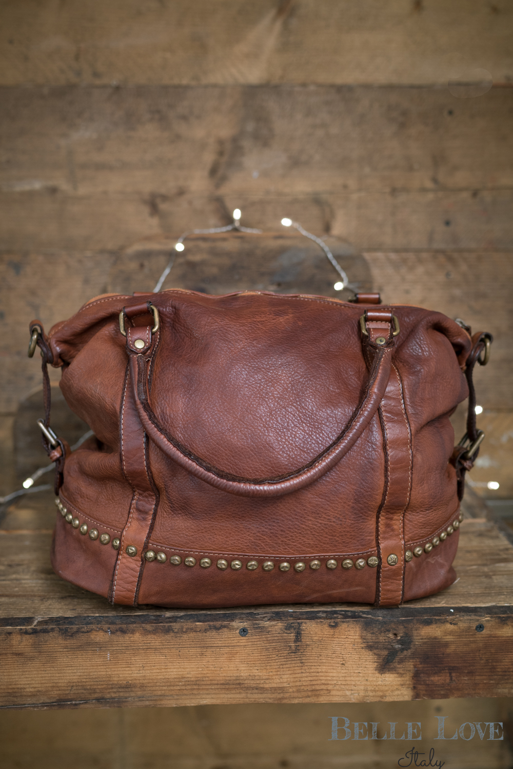 Belle Love Italy Tanned Studded Leather Handbag