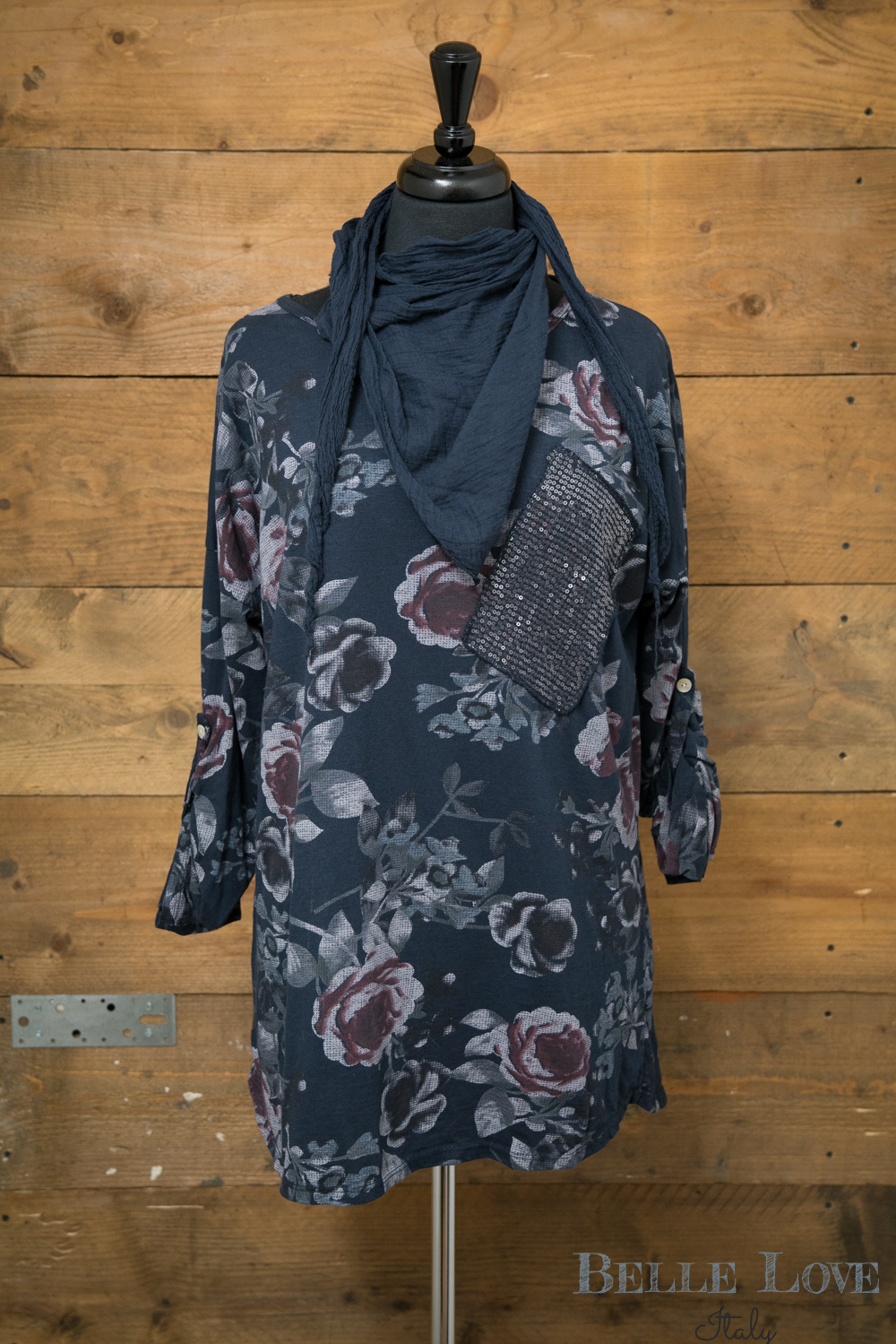 Belle Love Italy Floral Print Scarf Top