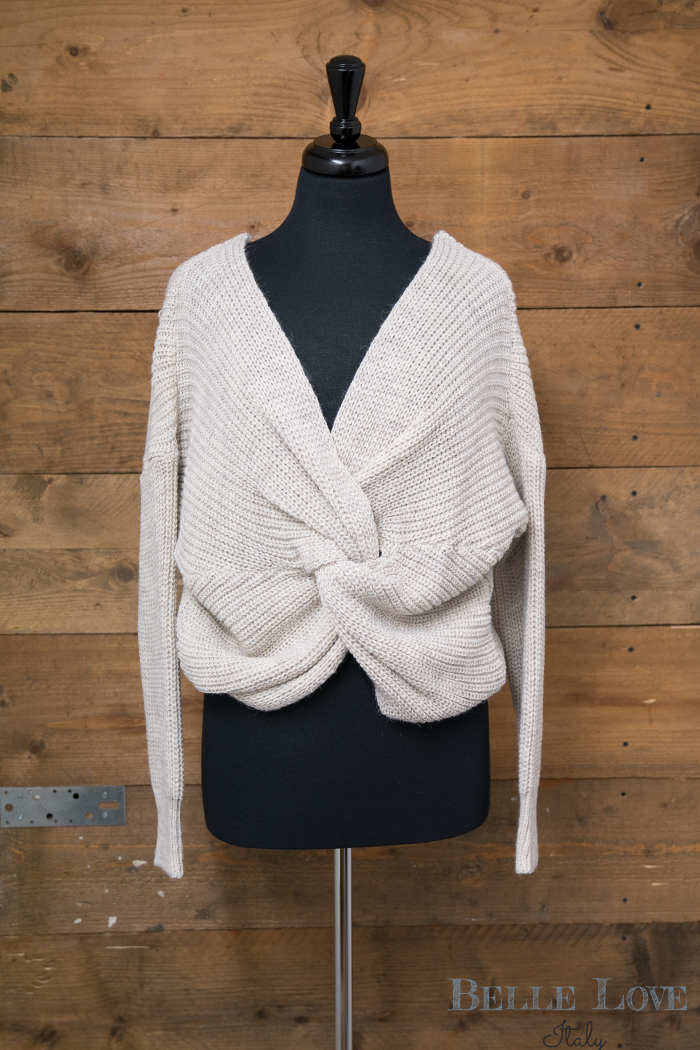 Belle Love Italy Over Cross Chunky Knit Jumper
