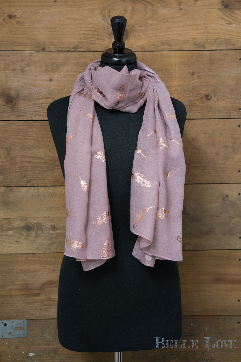 Belle Love Italy Rose Gold Feathers Scarf