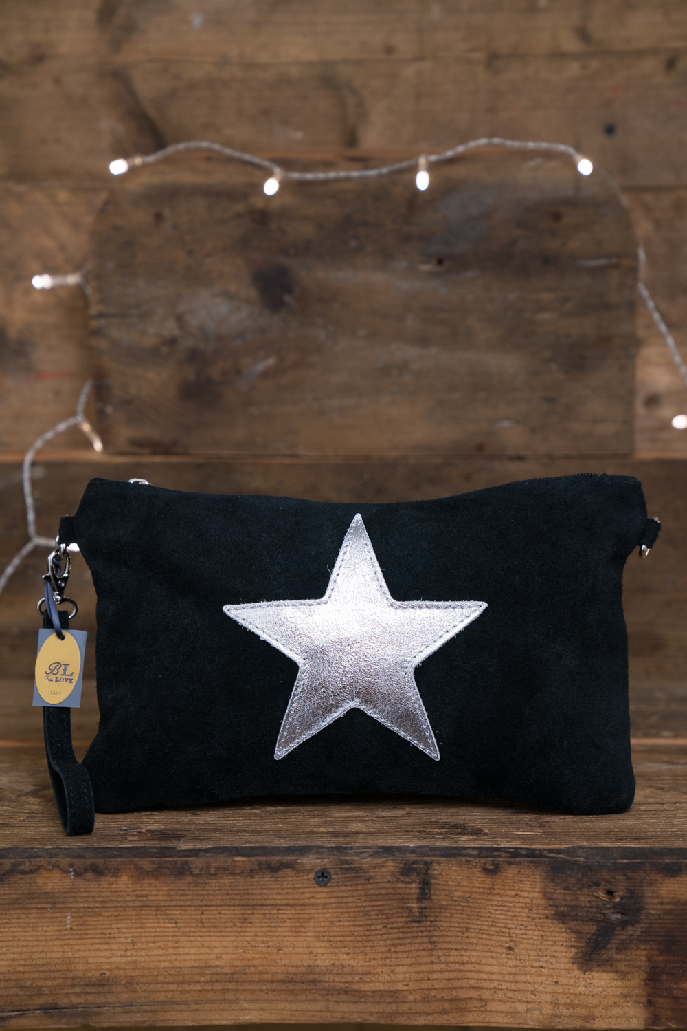 Belle Love Italy Metallic Silver Star Suede Bag