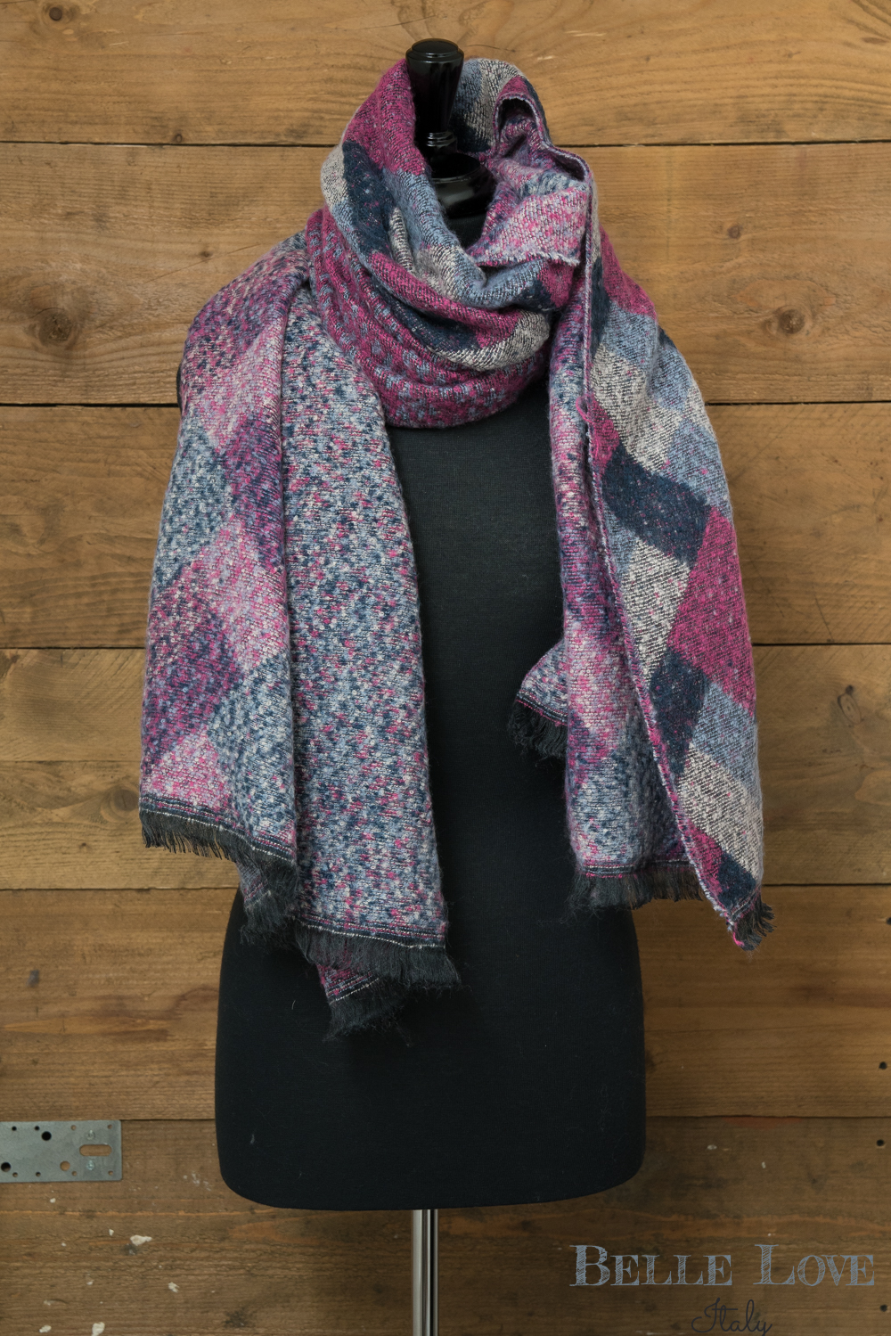 Belle Love Italy Reversible Block Print Chunky Scarf